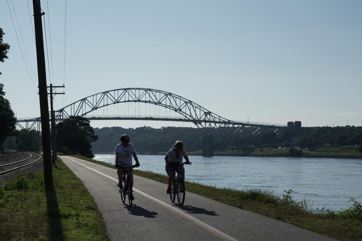 Bikers on bike path