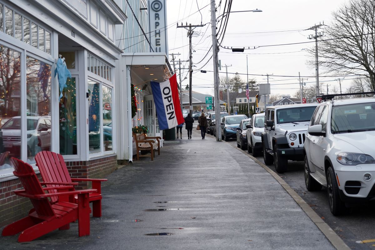 Small business storefronts in winter