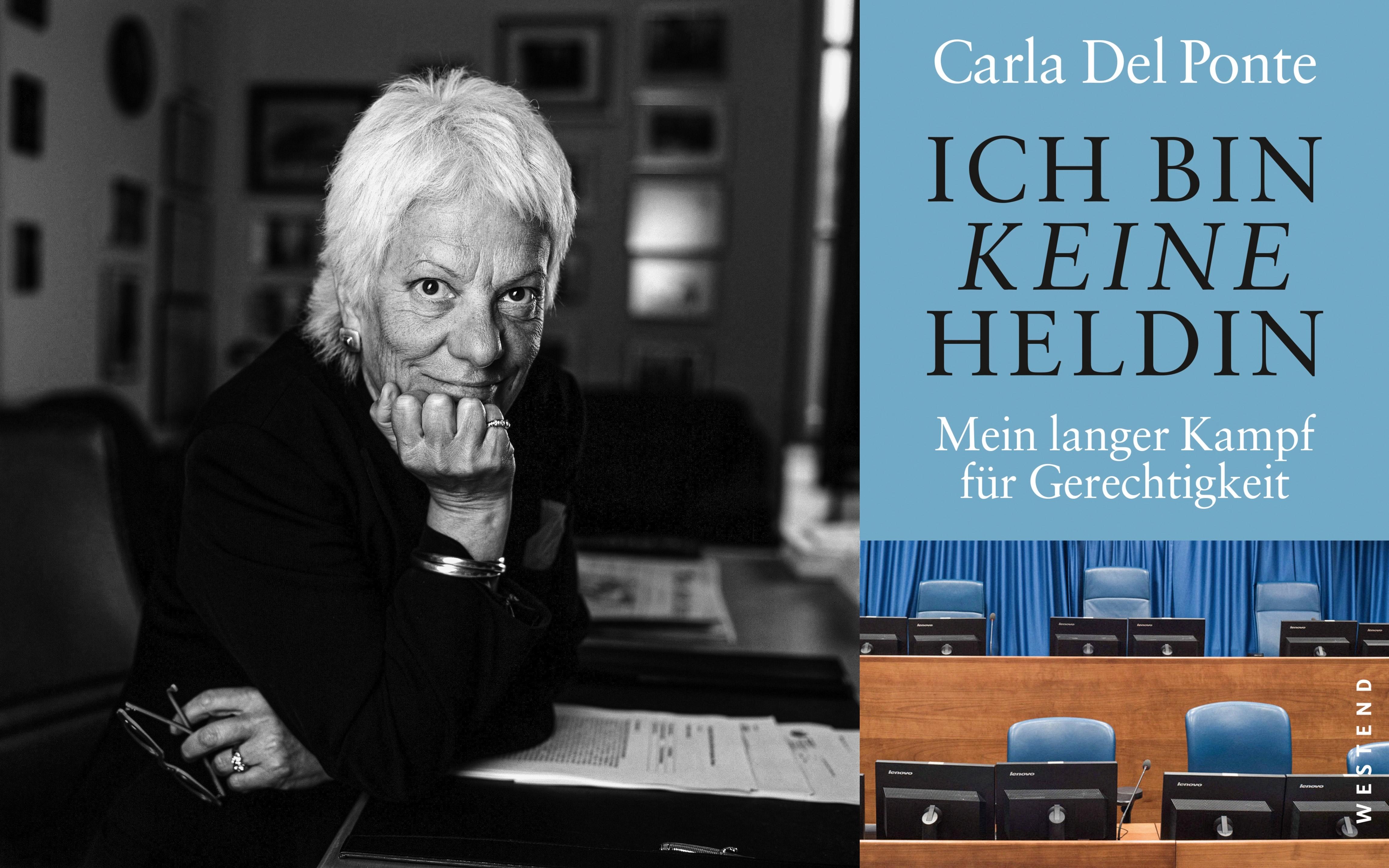 """Carola del Ponte (links) und Buchcover von """"Ich bin keine Heldin"""""""
