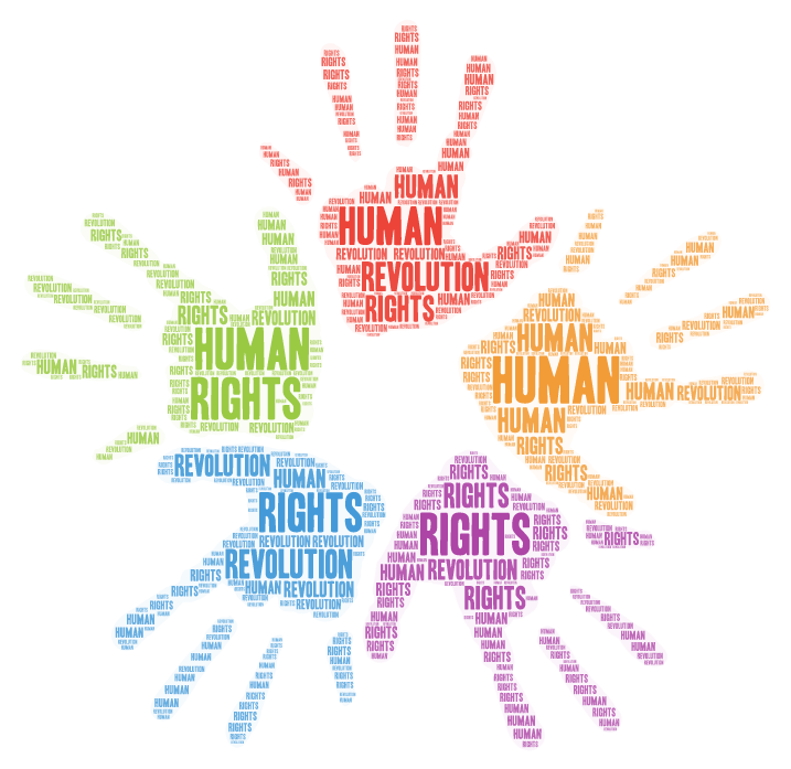 human rights revolution word cloud in the shape of palms facing out