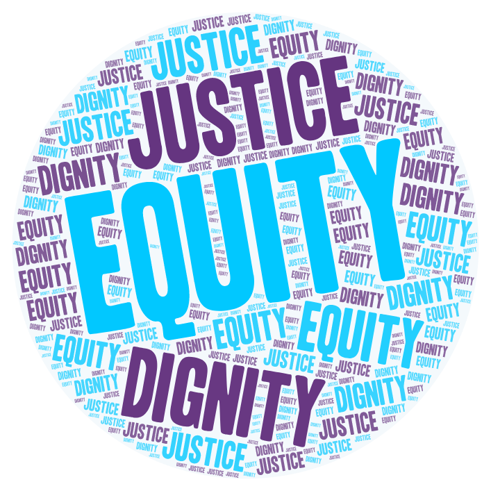 Circle word cloud in blue and purple: Equity, Justice, Dignity