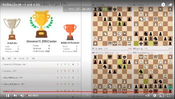 Print de tela da competição on-line de Xadrez