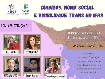Folder do evento Direitos, Nome Social e Visibilidade Trans no IFRS