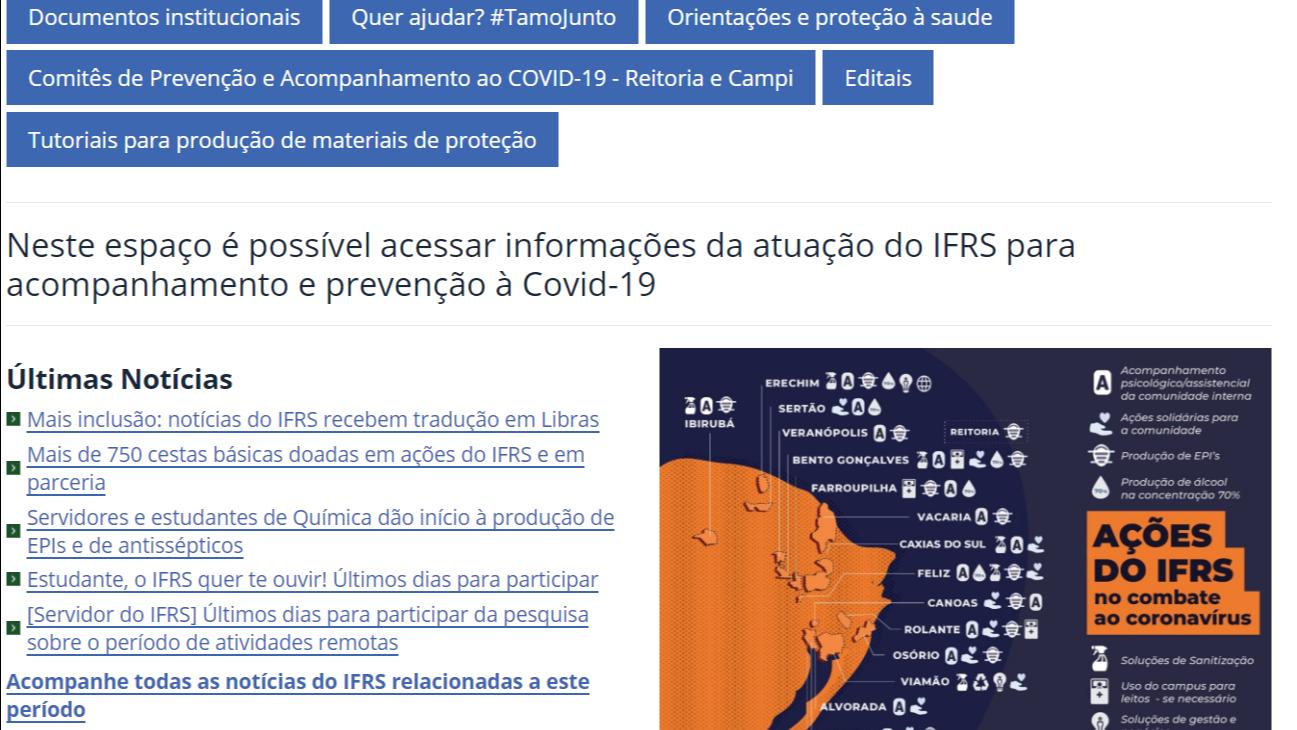 Print screen da capa da página Saúde no IFRS - Coronavírus no site ifrs.edu.br
