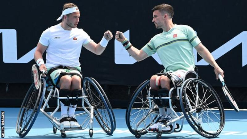 Alfie Hewett and Gordon Reid wheelchair double winners at the Australian Open - fist bump their success