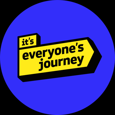 It's everyone's journey logo. Yellow arrow on blue background