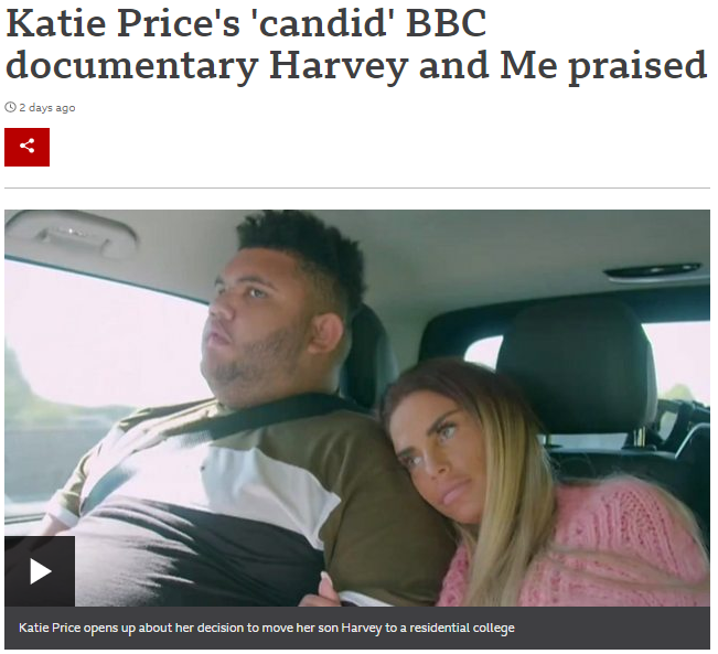 Katie Price leans her head against son, Harvey's shoulder as they are driven to view a residential college for Harvey