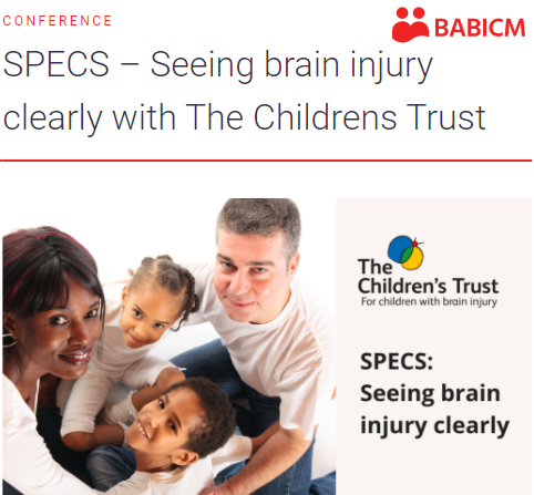 Family of 2 adults and 2 children smile up to the camera. Text teh Children's Trust SPECS: Seeing brain injury clearly