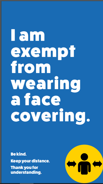 Poster with text: I am exempt from wearing a face covering