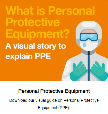 Image of someone in full PPE - A visual story to explain PPE
