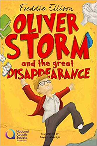 Book cover of Oliver Storm and the Great Disappearance. Cartoon image of a boy, bright colours, orange and red