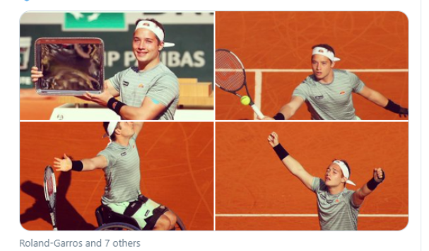 4 photos of Alfie Hewett: playing in the finals, moment of victory and holding the winner's trophy