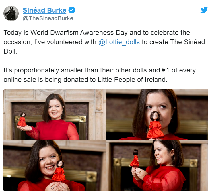 Sinead Burke shows the new Sinead Doll to celebrate Dwarfism Awareness Day