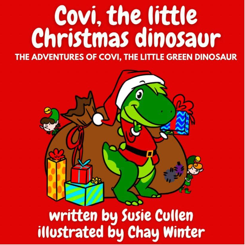 Book cover for Covi, the little Christmas dinosaur. Red background and friendly, cartoon dinosaur with Christmas presents