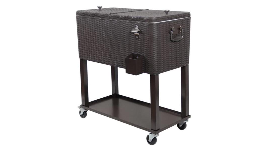 Wicker Stainless Steel Wicker Patio Cooler Cart