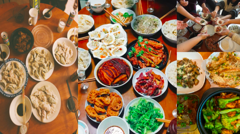 Compilation of food pictures submitted by UMSI members. Food includes dumplings, vegetables, and meat dishes.