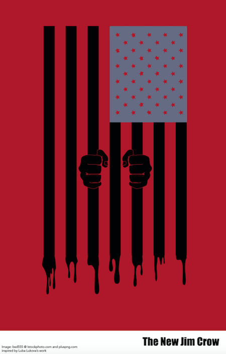 """American Flag with the stripes dripping off and handgs holding the stripes to show hands holding a prison bar. The accompanying text says """"The New Jim Crow"""""""