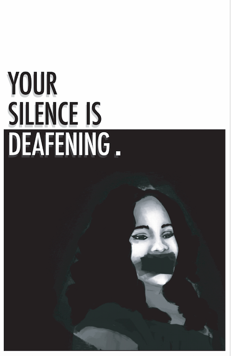 """Black and White Poster depicting Breonna Taylor with tape over her mouth and the words """"Your Silence is Deafening"""" above her."""