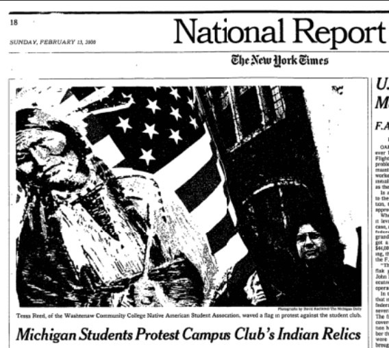 """Newspaper headline """"Michigan Students Protest Campus Clubs' Indian Relics"""""""