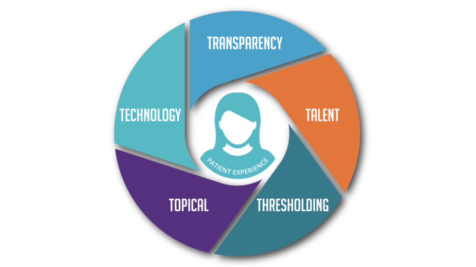 """Woman outline surrounded by the """"5 T's"""""""