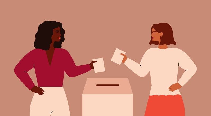 two cartoon women standing on either side of a ballot box submitting their votes