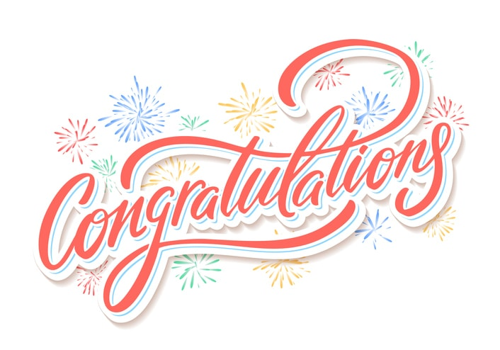 'Congratulations' written in red cursive with rainbow fireworks behind it