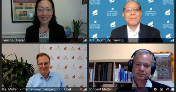 Screenshot van de vier sprekers tijdens de Tibet Talks Town Hall op 22 september