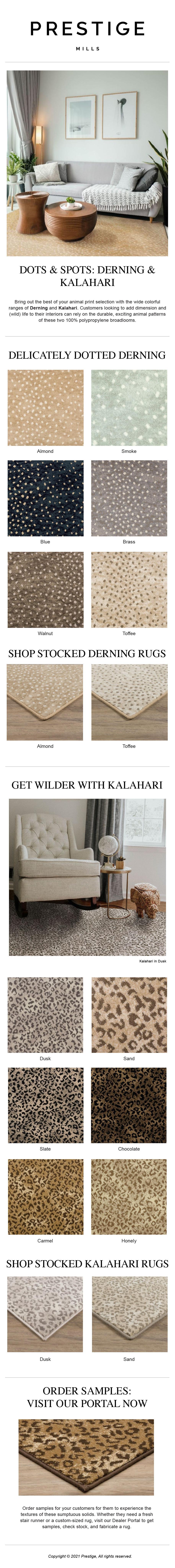 Mailchimp logo Prestige Mills | Spots & Dots: Derning & Kalahari Animal Prints-