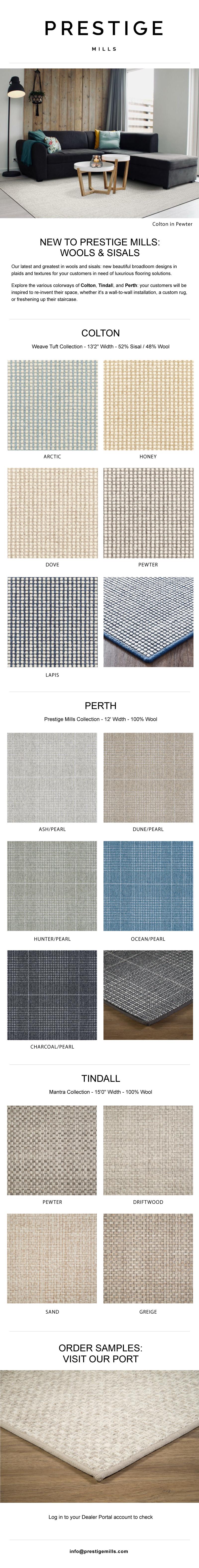 New to Prestige Mills | Wilton Wools & Woven Sisals