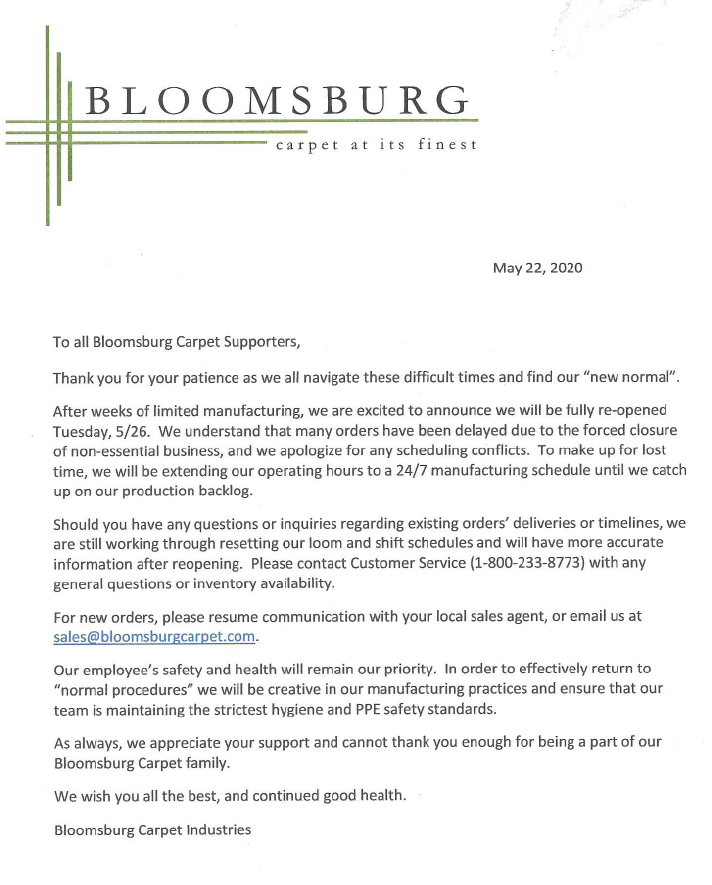 Image of Bloomsburg Carpet Reopening Announcement Letter