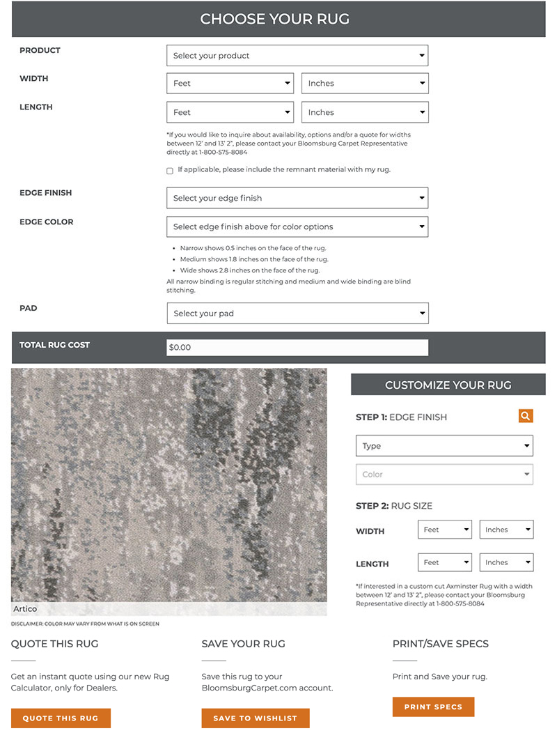 Rug Calculator- Choose your rug form image