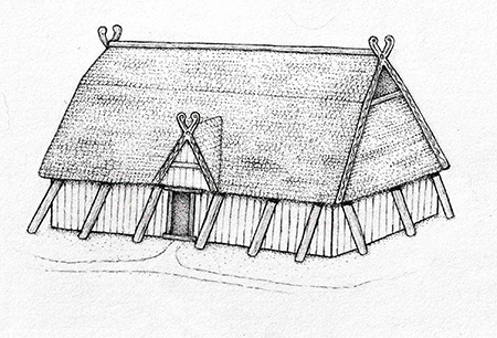 greyscale drawing of an anglo-saxon hall exterior