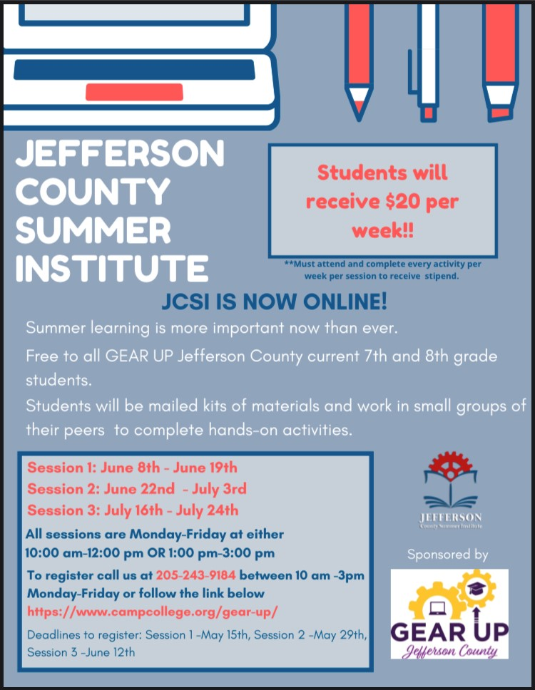 Jefferson County Summer Institute Flyer. For more information go to https://www.campcollege.org/gear-up/