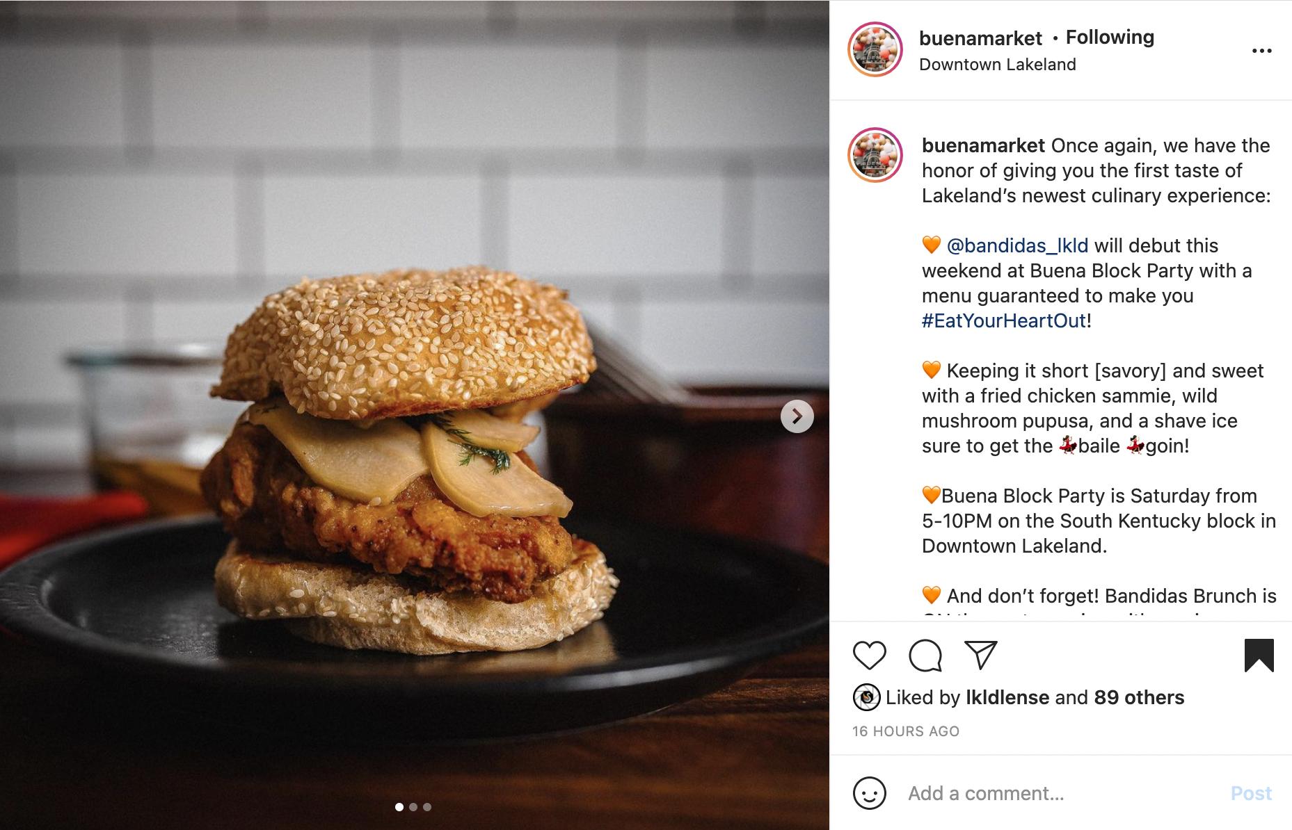 Fried chicken sandwich from Buena Market's instagram.