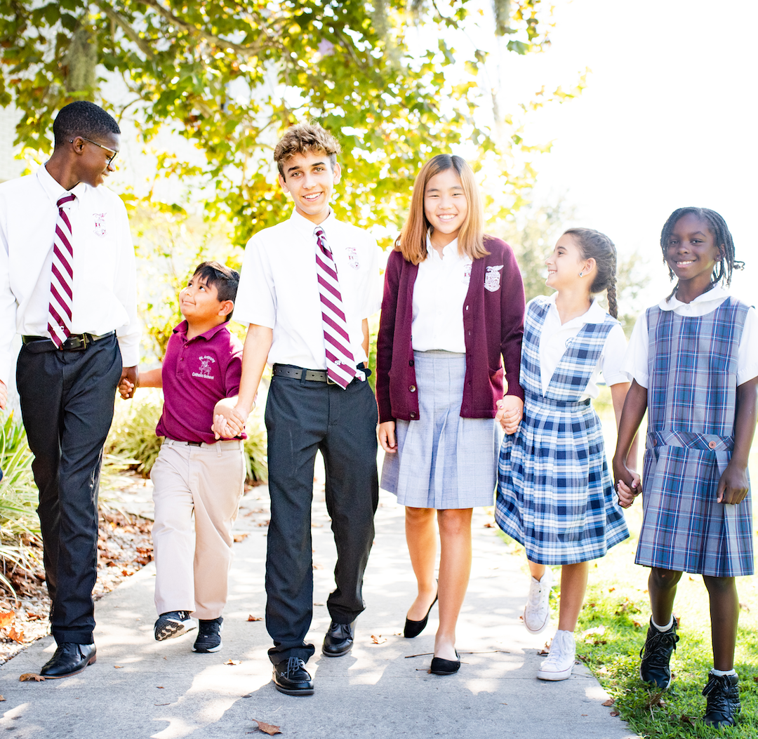Group of students from Polk County Catholic Schools