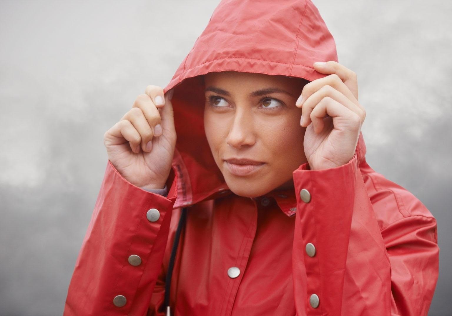 Women wearing a rain jacket