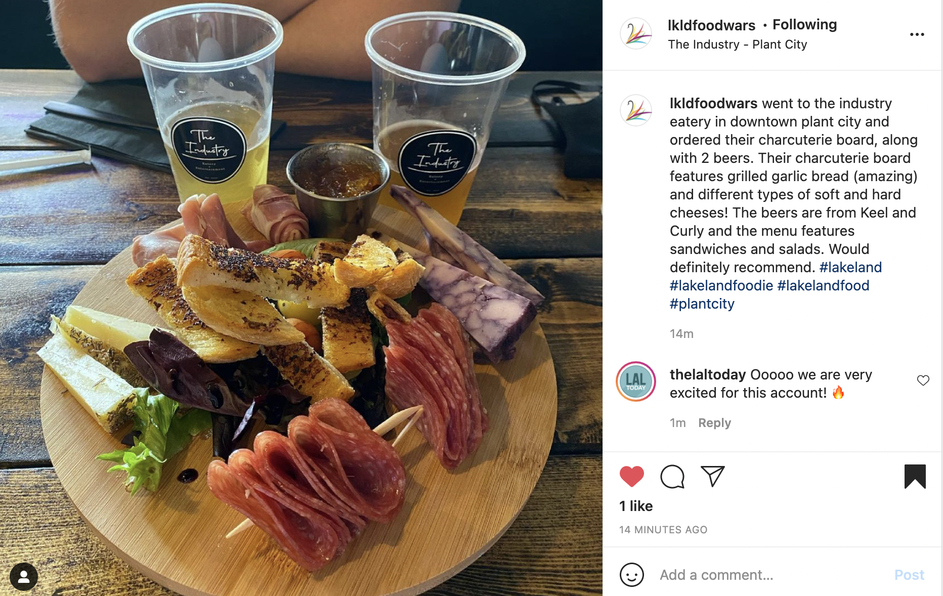 Photo of charcuterie board and two beers at The Industry Eatery in Plant City, FL.