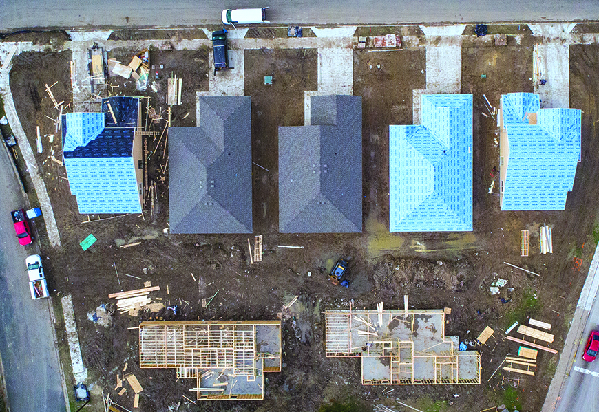 Aerial view of homes being built