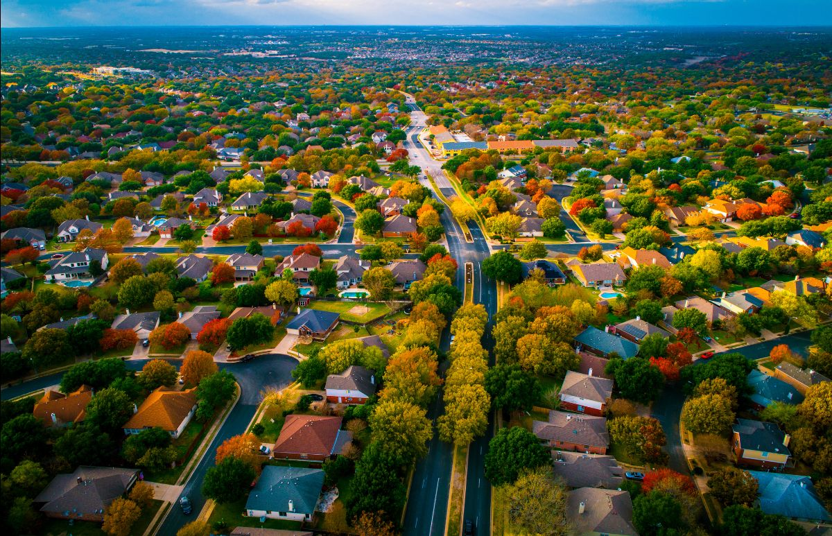 Aerial view of Austin suburb in the fall
