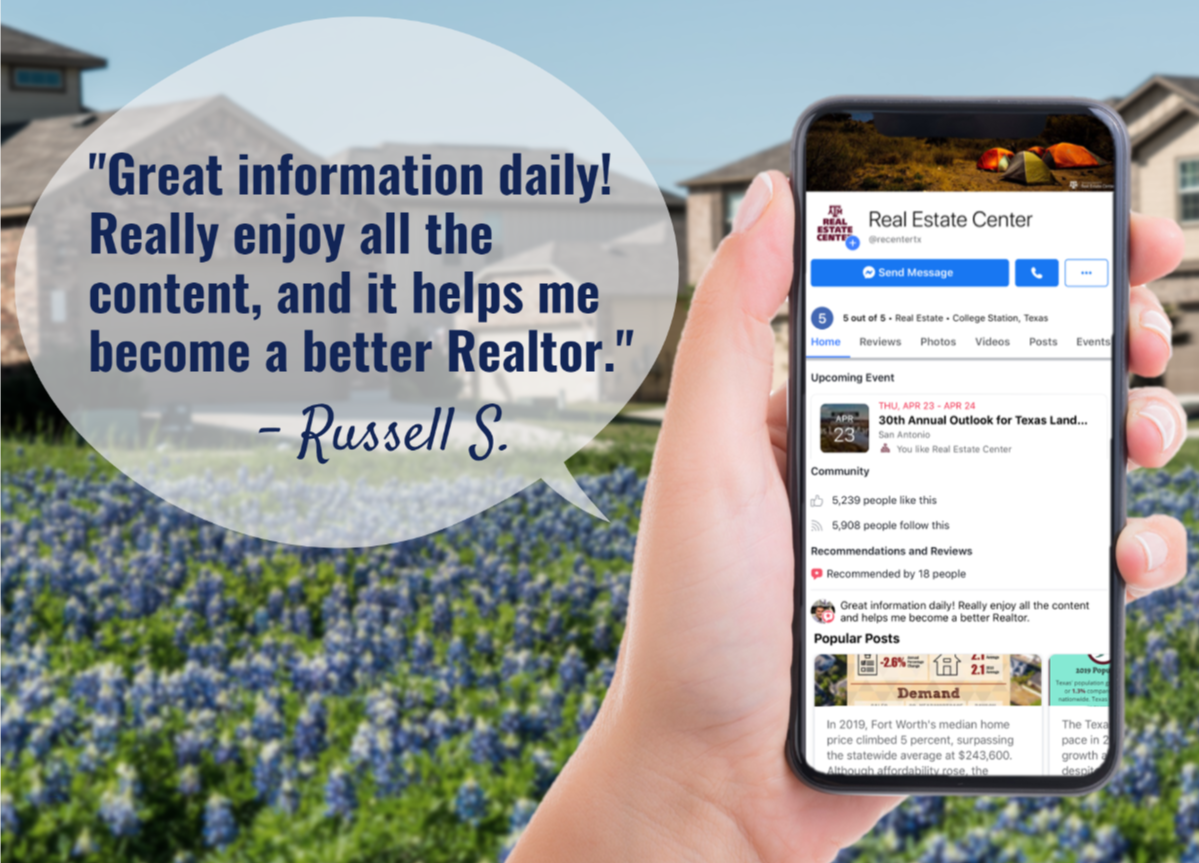 Straight talk. Straight to you. The Real Estate Center delivers the best real estate information in the most direct way possible—social media. See why nearly 7,900 people follow us on Facebook.