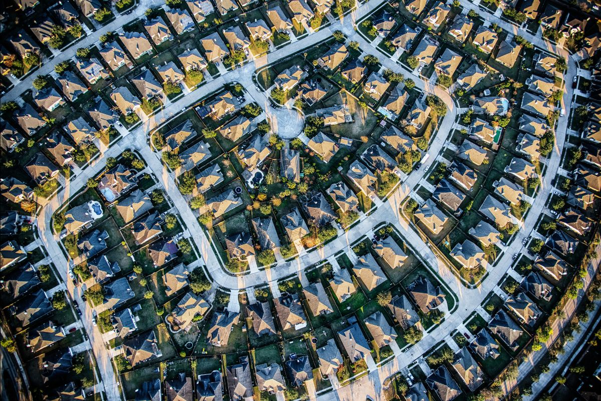 Aerial view of Texas homes