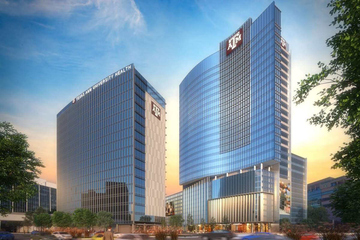 Rendering of TAMU's health complex in the Texas Medical Center