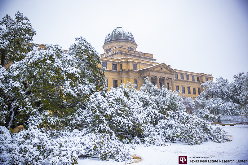 Texas A&M University in snow