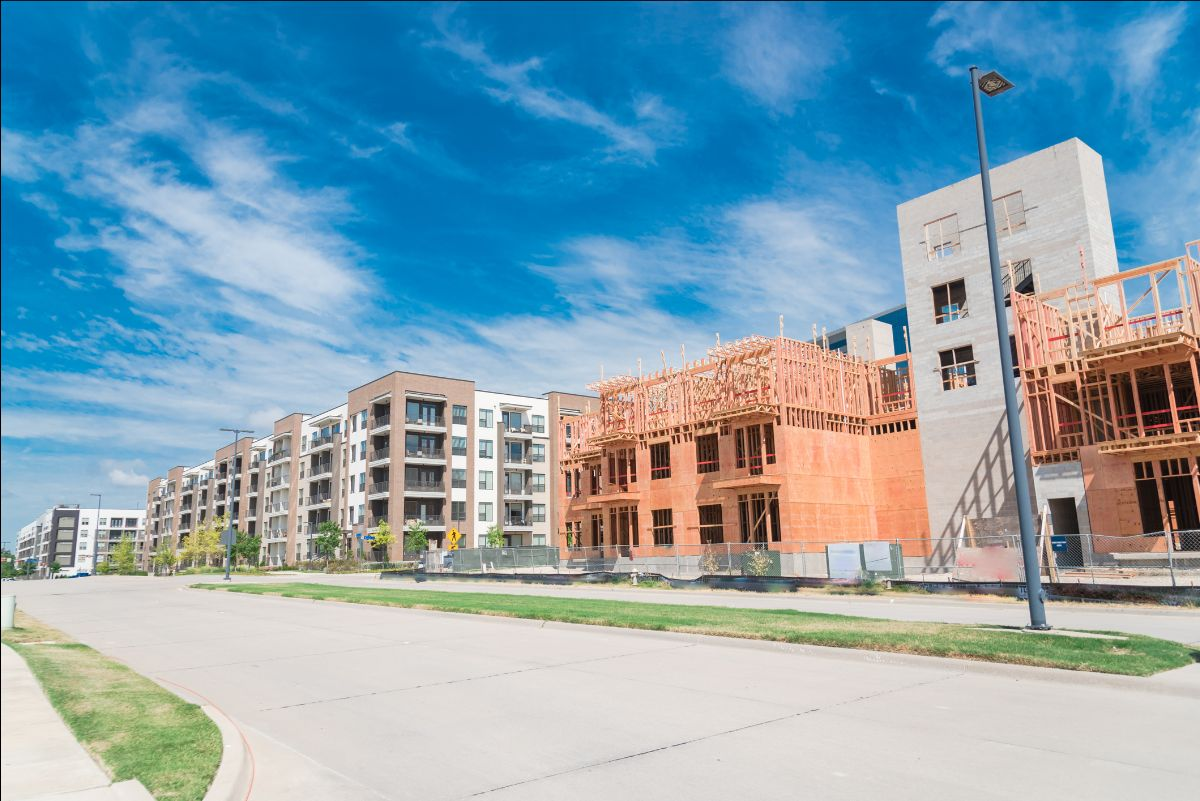 condo construction at the corner of wilshire way and cityline dr. in richardson, tx on a sunny day