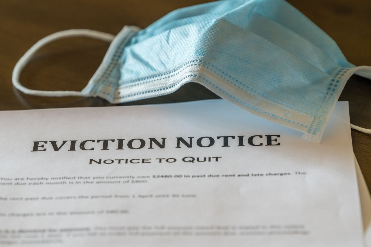 Eviction notice with blue mask on it