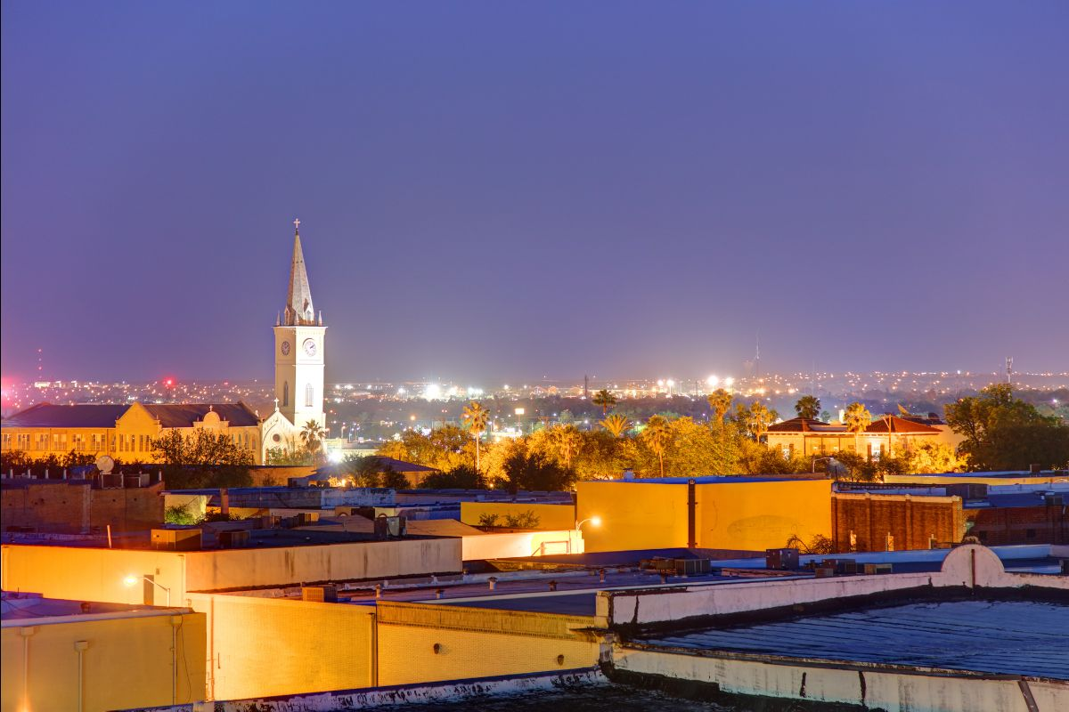 Laredo skyline at night. The Cathedral of San Agustin is on prominent display
