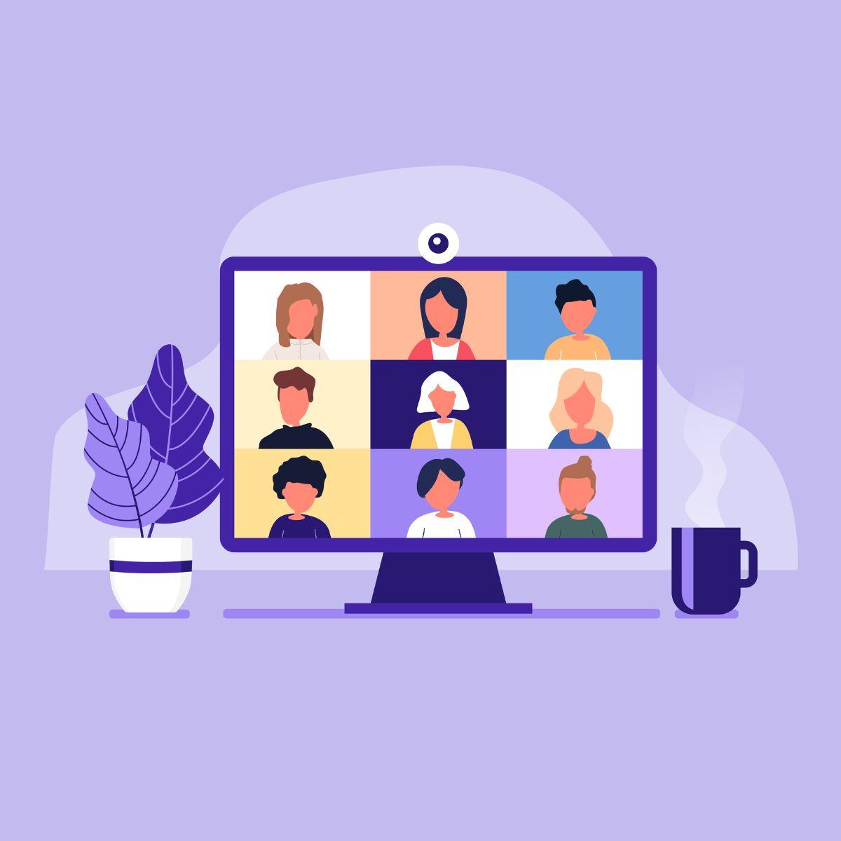 virtual meeting cartoon