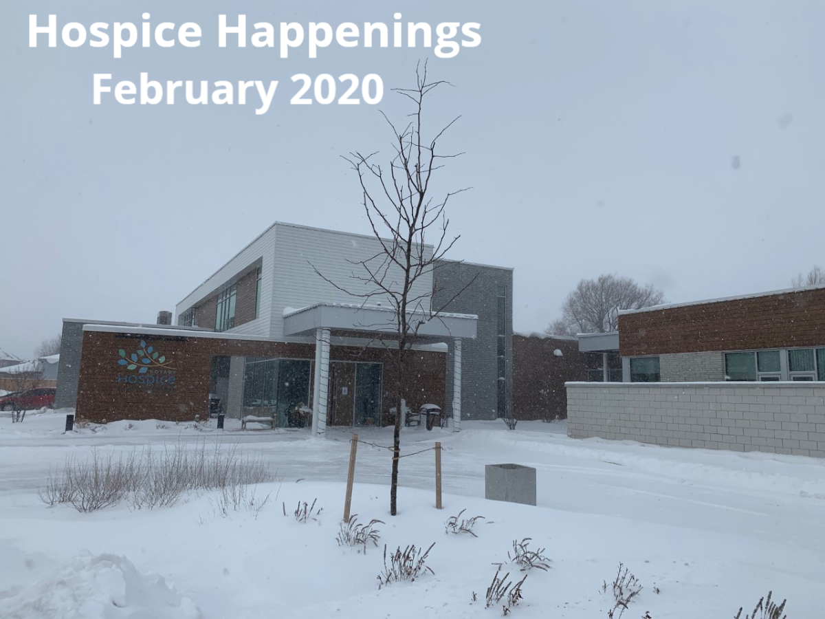 Hospice building in the snow