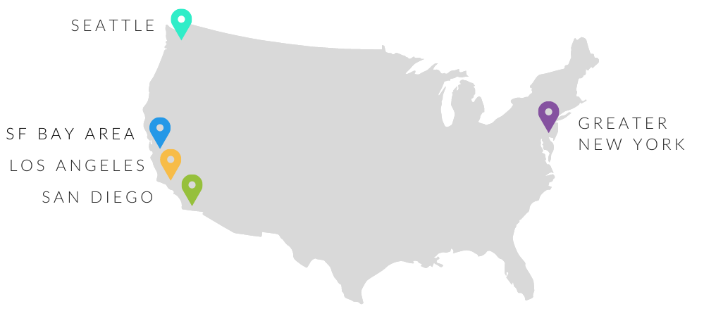 Map of SEI offices: Seattle, SF Bay Area, Los Angeles, San Diego, New York