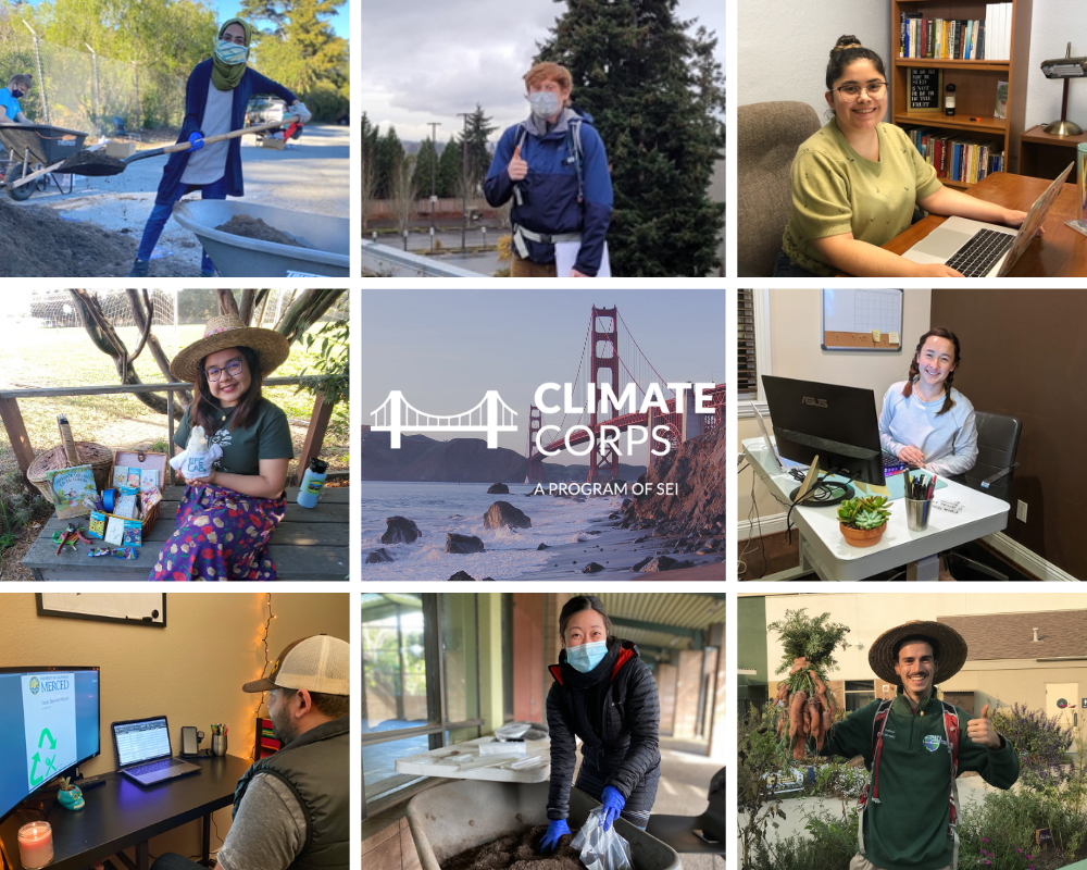 Climate Corps fellows working from home and in the field with PPE